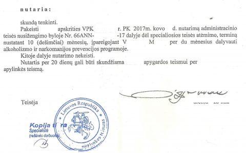 Teisių atėmimo terminas (už neblaivumą) sutrumpintas nuo 12 iki 10 mėn.