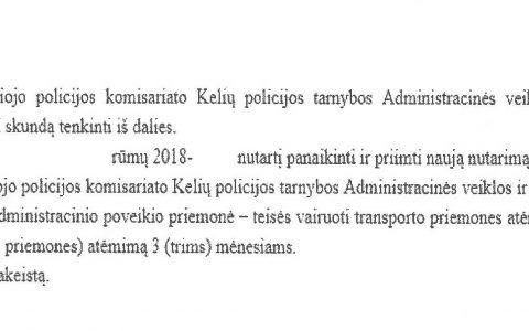 Teisių atėmimo terminas (už neblaivumą) apeliacinio teismo sutrumpintas nuo 12 iki 3 mėnesių (apylinkės teismas teisių atėmimą išvis buvo panaikinęs).
