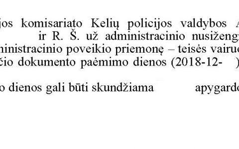 Teisių atėmimo terminas (už neblaivumą) sutrumpintas nuo 12 iki 6 mėn. (sprendimas peržiūrėtas apeliacine tvarka)