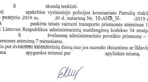 Teisių atėmimo terminas (už neblaivumą) sutrumpintas nuo 12 iki 7 mėn.